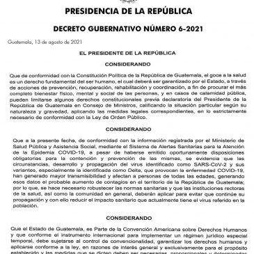 Decreto Gubernativo Número 6-2021 Estado de Calamidad Pública