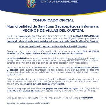 Comunicado Oficial para vecinos de Villas del Quetzal